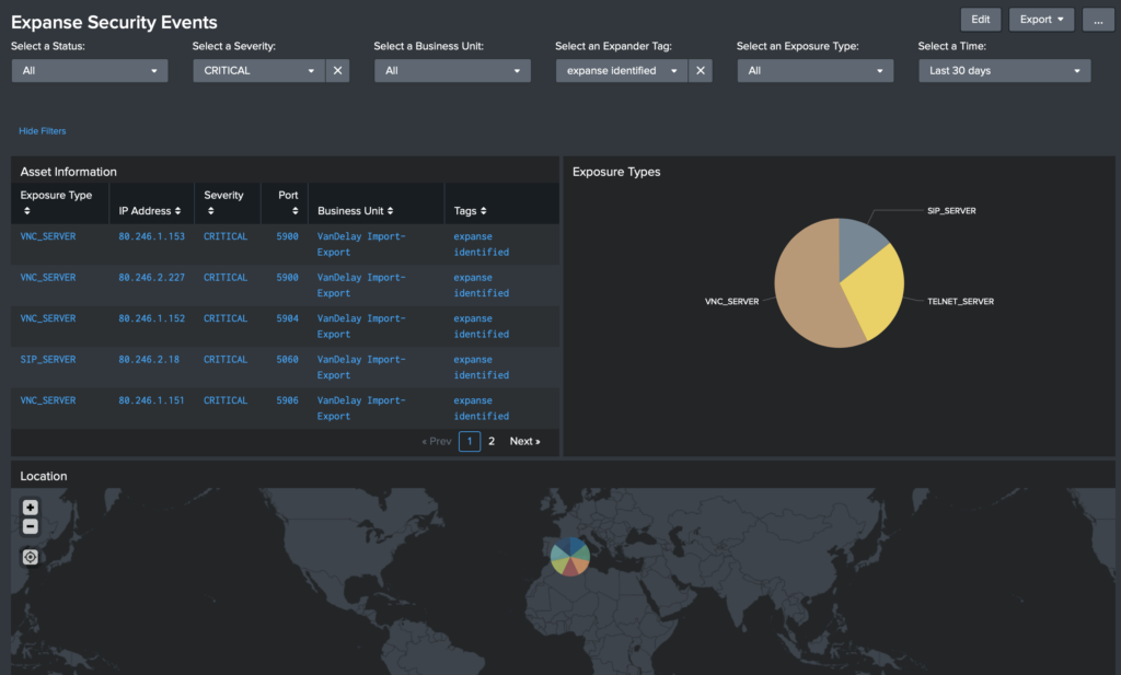 Splunk screenshot